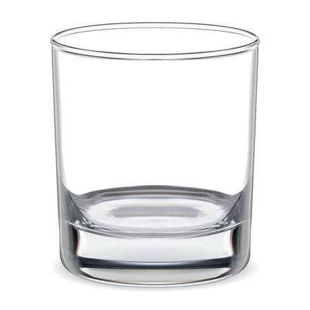 Leeg glas. Transparant whiskyglas. Helder glaswerk voor water, cognac, bourbon, rumbar alcohol. Realistisch schoon en glanzend servies. Kristallen kom illustratie voor koude minerale aqua