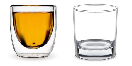 Verre à whisky. Tasse de bourbon transparente isolée. Tasse vectorielle réaliste en 3D pour cocktail au rhum ou à l'alcool écossais. Maquette de verrerie vide vierge. Conception d'ustensile de boisson moderne et épuré. Cristal vide