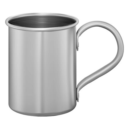 Metal mug. Stainless steel cup. Aluminum tin mockup for water, coffee, tea. Photorealistic design of thermal travel teacup with handle. 3d template blank. Vector container mock up