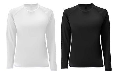 T-shirt sjabloon. Zwart, wit ontwerp met lange mouwen voor mannen en vrouwen. Vooraanzicht. Geïsoleerde kledingdruk mock-up van sportkleding. Onderhemd voetbal uniform. Donker T-shirt kort Vector Illustratie
