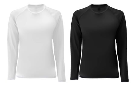 T shirt template. Long sleeve black, white design for male and female. Front view. Isolated clothing printing mock up of sportswear apparel. Undershirt soccer uniform. Dark tee short Ilustracja