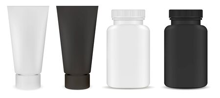 Medical Supplement bottle. Ointment cream tube plastic blank. Aspirin pill package design, isolated. Realistic treatment moisturizer box. Dental or cosmetic product template. Pharmaceutical container