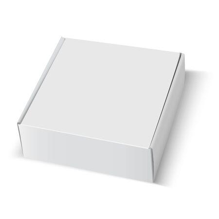 Modello di scatola. Pacchetto di cartone bianco quadrato vuoto. disegno del modello chiuso carta cartone 3d isolato. Illustrazione del contenitore di consegna cibo fast food. Confezione regalo a forma di rettangolo modificabile Vettoriali