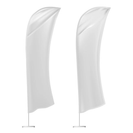 Feather flag banner mockup. Advertising promotion stand blank for branding display. Vertical white template advert poster design. Expo wind stander from fabric material. Realistic portable promo sign Banque d'images - 132091976