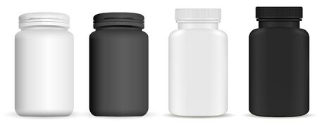 Medicine pill bottle. Vitamin package mockup. Plastic supplement jar 3d vector blank. Pharmaceutical product container isolated on backaground. Pharmacy remedy pack. Realistic vertical drug set Illusztráció