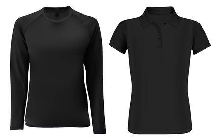 Szablon koszulki T-shirt makieta. Czarny wektor pusty widok z przodu. Modna bluza z krótkim i długim rękawem unisex. Sportowe ubrania polo. Jednolity podkoszulek dla kobiet i mężczyzn. Edytowalny projekt Ilustracje wektorowe