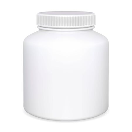 Supplement bottle. Pill jar mockup. Aspirin medicine package 3d design. Pharmaceutical container medical blank. Pharmacy tablet or capsule can template closeup. Realistic round packaging