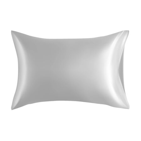 Pillow blank. White cushion design mockup isolated. Realistic rectangle fluffy feather or down product top view. Soft square head rest bolster