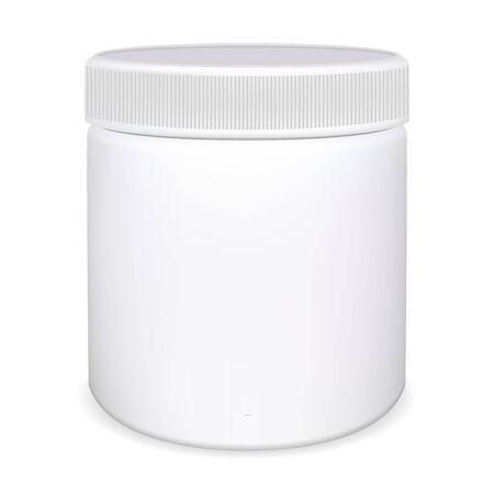 Flacon de pilule de médecine. Pot de vitamines en plastique. Maquette d'emballage vierge pour capsule. Modèle de conception 3d de conteneur de supplément. Supplément emballage rof remède. Boîte de protéines de nutrition sportive