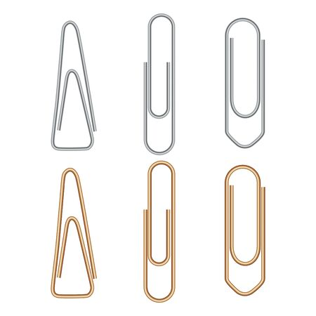 Paper clip. Metal paperclip office attach isolated on white background. Realistic silver and golden binder. Stationery fix tool for page, card. Yellow and chrome staple. Document equipment Illustration