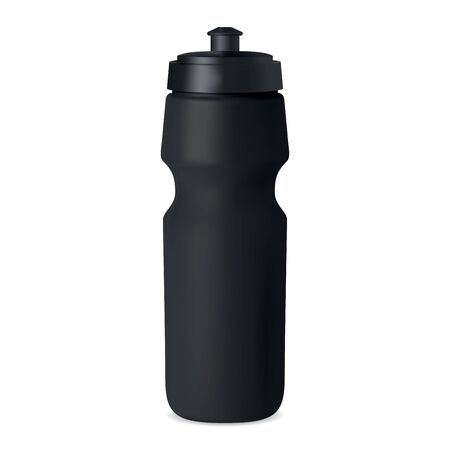 Sport bottle. Water flask vector mockup. Black plastic container with cap for branding. Reusable bicycle tin for fitness, training, workout. camping, hiking adventure equipment. Bike can illustration Ilustrace