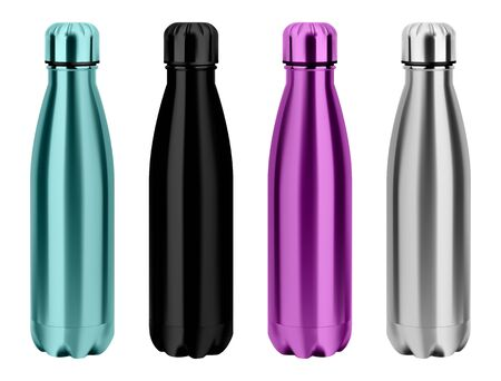 Water thermo bottle. Reusable stainless steel metal flask. Realistic glossy silver camping tin. Black empty flask design. 3d package template. Fitness vessel for promotion Ilustrace