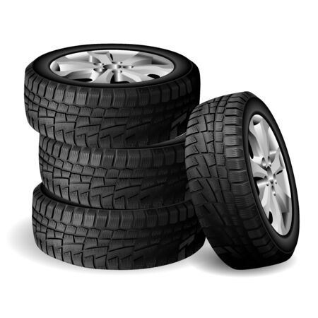 Winter rubber stack. Tyre repair shop. Auto wheel vector illustration. Realistic Automobile tire 3d render with rim. Cold snow worn and protect. New quality tyres side view for truck or suv Illustration