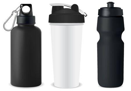 Ensemble de bouteilles de sport. Maquette de flacon d'eau. La protéine peut vider l'illustration. Modèle 3d de bidon de poudre de nutrition. Boîte en acier inoxydable. Navire de recyclage à vélo. Promotion de l'emballage au détail. Conteneur de gym