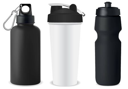 Sport bottle set. Water flask mockup. Protein can blank illustration. Nutrition powder canister 3d template. Stainless steel tin. Cycling recycle vessel. Retail package promotion. Gym container