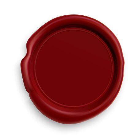 Timbro di cera. Illustrazione realistica del sigillo rosso. Design vintage distintivo dell'ufficio postale. Modello rotondo di logo 3d. Patch timbro reale per la sicurezza della busta. Garanzia del certificato di laurea