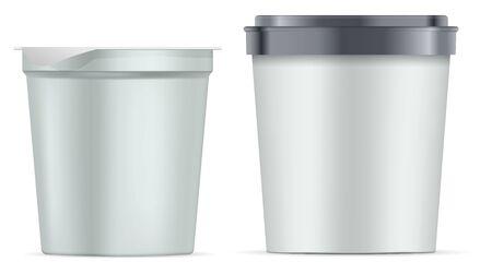 Round paper jar set. Silver white matte plastic pot with foil cover for yogurt, cream, dessert or jam. Realistic packaging mockup template. Vector 3d illustration.
