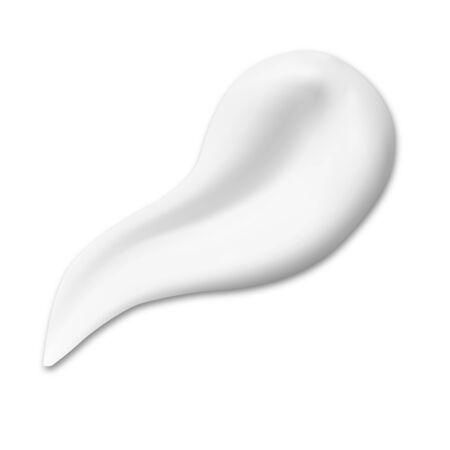 Kosmetischer Creme-Textur-Abstrich. Cremige Tropfenmusterillustration. Realistisches Feuchtigkeitsgel oder Sonnenschutzlotion Produktwirbel. Rasur Mousse Pinselstrich. Weiches Gesichtsmilchelement-Spritzen