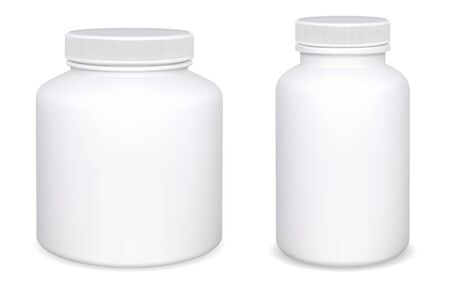 Supplement pill bottle mockup collection. Vitamin, aspirin white plastic box design, isolated on background. Pharmacy capsule jar 3d blank template. Realistic tablet drug container set. Medication Ilustracje wektorowe