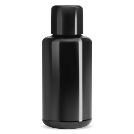 Black glass bottle mockup. Isolated cosmetic jar. Glossy medical package blank. Empty shampoo, lotion bath cosmetics. Clean beauty product tube. Realistic shiny packaging design
