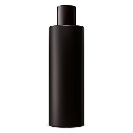 Black shampoo bottle. Cosmetic package vector blank mockup. Beauty lotion tube with shiny cap. Realistic plastic cylinder container. Tubular packaging for hair mask, moisturizer Ilustração