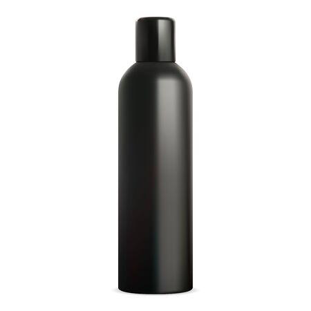 Spray tin mockup. Black deodorant bottle can. Air freshener cylinder packaging. Hair paint aerosol design. Antiperspirant aluminum container template. Metal tube blank template. Toilet sprayer Ilustração