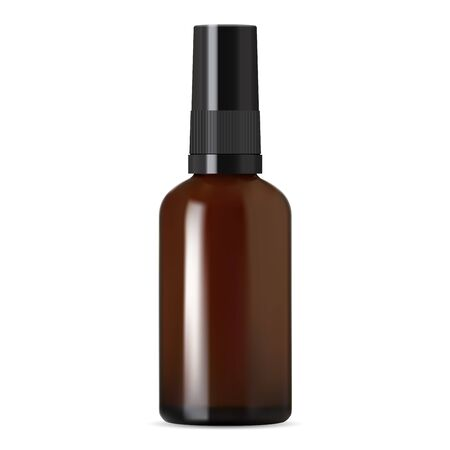 Brown glass dropper bottle. Amber pharmacy vial isolated on white. Aromatherapy perfume cosmetic storage. Plastic screw cap medical translucent jar. Chemical liquid flacon. Medicament storage