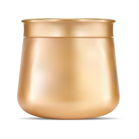 Cosmetic cream jar. Realistic gold mockup. Body creme round container. Moisturizer ointment or lotion pot. Beauty makeup powder packaging. Skin product canister Ilustração