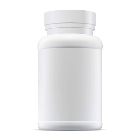 Medicine pill bottle mockup. Plastic supplement package blank. Prescription remedy packaging illustration. Medical tablet or capsule container isolated on white background. Pharmaceutical pack