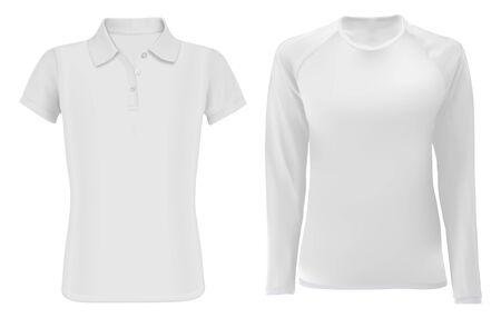 Maqueta de la camisa de polo. Ropa de manga larga para hombre en blanco. Modelo de ropa deportiva textil de moda joven para promoción, diseño editable. Frente de plantilla de sudadera blanca. Camiseta y camiseta masculina Ilustración de vector