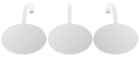 Store sale dangler. Wobbler mockup. Plastic point tag vector design. Oval promo sticker for supermarket shelf. Pop round banner holder for retail shelves. Circular white pvc hanging ad for branding.