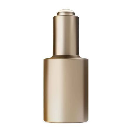 Serum bottle with dropper. Face collagen essence. Natural enzyme q10 woman therapy. Golden cosmetic eyedropper vial. Premium treatment solution mock up, isolated on white Ilustração
