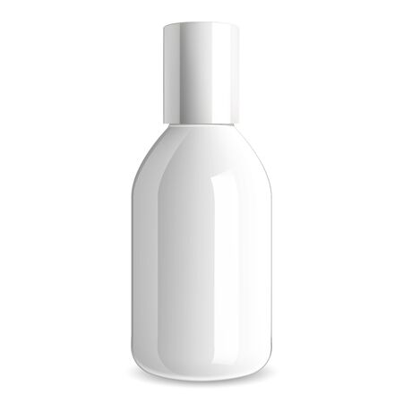 White cosmetic bottle. Glossy glass packaging template for shampoo, gel, cream. Realistic medical container illustration mockup. Bath product plastic package for body lotion