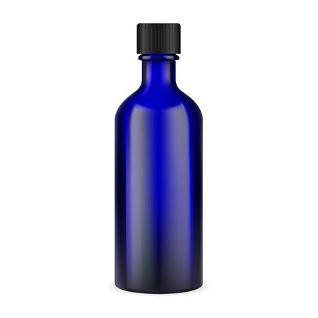 Blue glass medicine bottle. Pharmaceutical syrup jar illustration with black cap. Essential tincture apothecary vial for aromatherapy. Realistic transparent container template