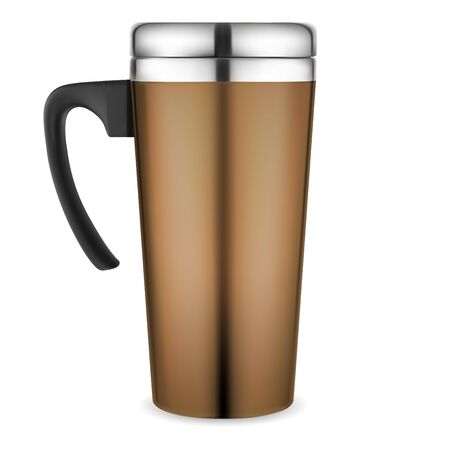 Thermo mug mockup. Travel coffee cup. Vacuum insulated metal flask with plastic handle for corporate branding. Shiny silver steel lid template for hot tea