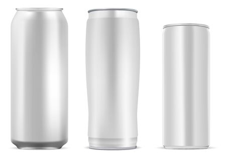 Aluminum can for coffee, juice, soda drink. Still metal tin mockup template for cold lemonade beverage. Glossy aluminium bottle for beer alcohol, isolated on white background