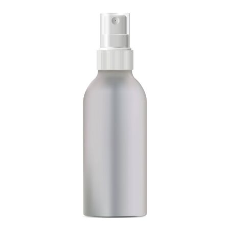 Aerosol spray bottle. Aluminum cylinder can mockup for hairspray. Realistic air freshener packing blank. 3d tube blank with plastic dispenser lid for anticeptic or parfume