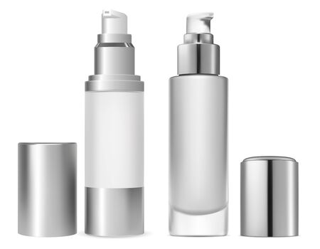 Face foundation cosmetic bottle. Serum toner for facial skin care. Luxury liquid powder product. Pump package design for premium makeup or treatment