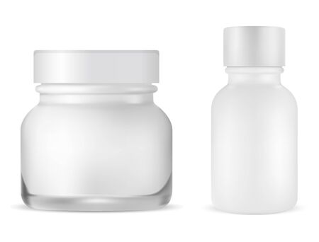Round cream jar. Face skin care bottle. Serum product packaging. Beauty container mockup for cosmetic creme, gel, lotion or moisturizer Illustration