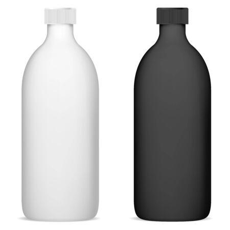 Shampoo bottle set mockup. Black and white cosmetic package blank. Realistic 3d beauty product container illustration. Tube template