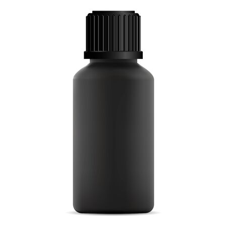 Black glass medical bottle with screw lid. Pharmacy vial illustration. Vector container mockup for essential oil aromatherapy. Round cosmetic flacon for perfume or vitamin syrup Ilustração