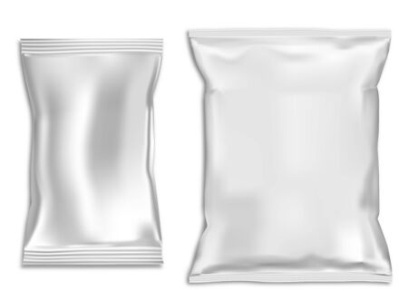 Snack bag mock up. Plastic pillow pouch blank. Vector template for foil sachet isolated on background. Closed foil wrap for food product. Pasta, powder, chocolate and sugar polythene packet Ilustração