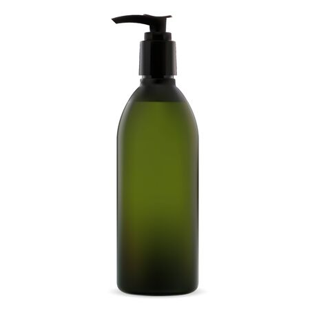 Pump dispenser bottle. Cosmetic soap package blank. Plastic tube with push valve for liquid lotion, shampoo, foam or gel. Hand or body skin care treatment batcher can Ilustração