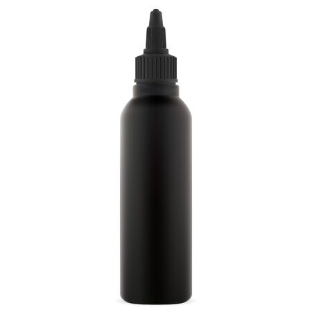 Dye hair color bottle. Black cosmetic tube mock up. Plastic container template for e juice vape liquid. Merchandise container without label for cream or lotion. Empty jar isolated on white background