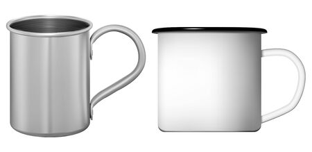 Metal cup. White and silver coffee or tea mug set. Stainless steel flask template with retro design. Ceramic teacup mockup with handle, photorealistic 3d illustration. Travel tin for hot drink Ilustração