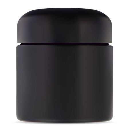 Black jar mockup. Cosmetic cream plastic container. Rounded package with lid for scrub or butter. Premium face or body skin care product can