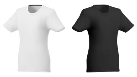 Vector polo template. Short sleeve shirt mockup 3d realistic design. Round neck promotion tshirt illustration. Fashion sportswear clothing in black and white color