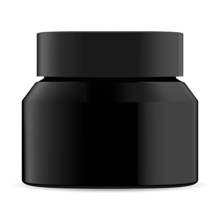 Black cosmetic jar. Cream bottle mockup blank. Charcoal facial mask round container. Premium wax realistic gloss packaging. Skin care treatment serum can with lid for beauty poster illustration Ilustração