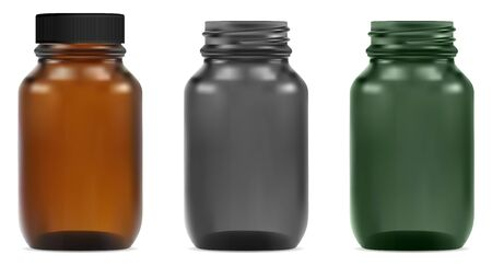 Glass bottle. Medical jar mockup with plastic cap in brown, green and black. Syrup vial transparent blank template isolated on white. Amber pharmacy drug package. 3d vector illustration