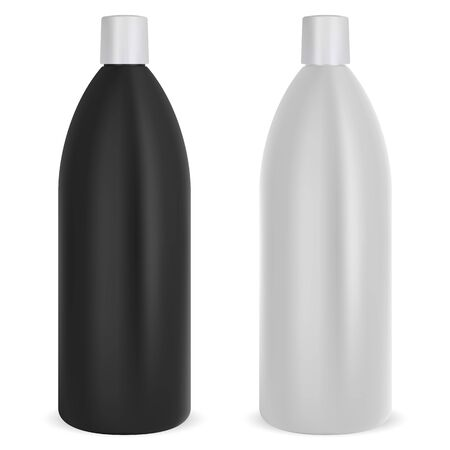 Shampoo bottle set. Black and white plastic mockup package. Realistic 3d cosmetic container for hair or skin care product. Oval tube bath collection mockup. Health and beauty pack template